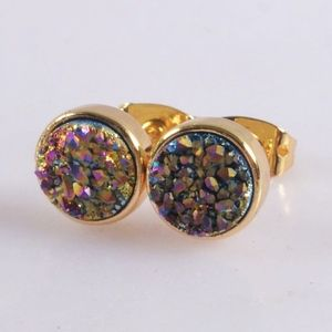 3/$20...Agate Titanium Druzy Bezel Stud Earrings